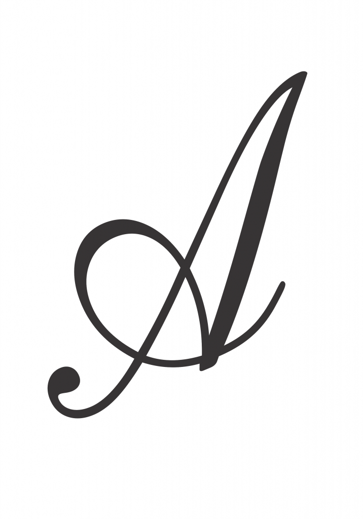 capital letter a in cursive