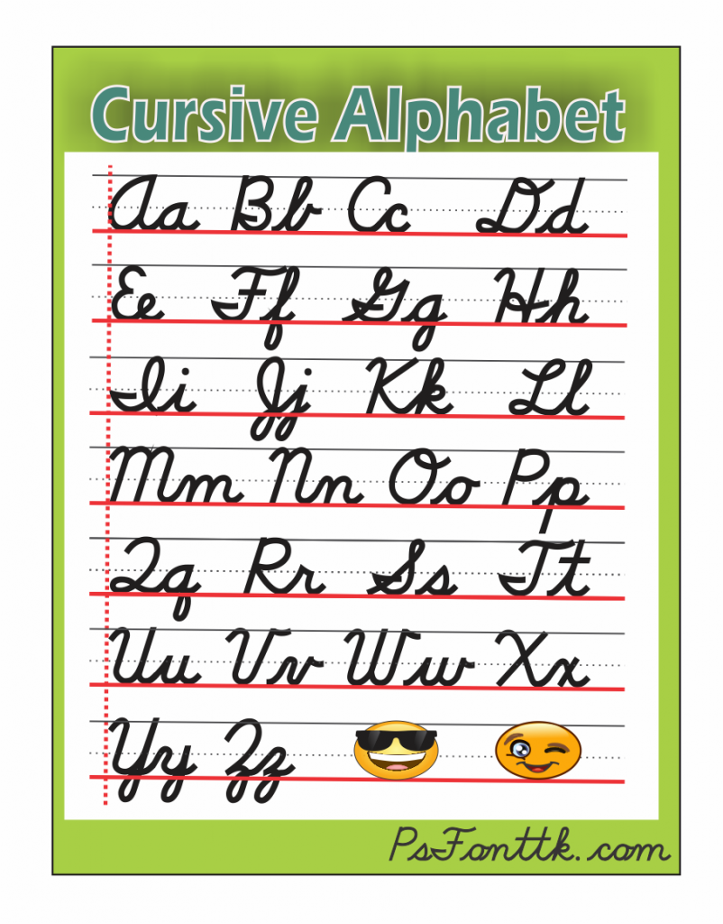 the alphabets in cursive