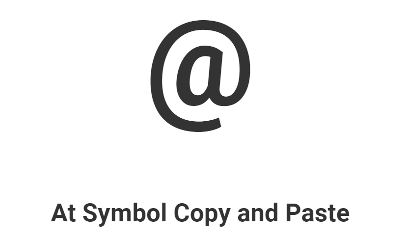 At Symbol Copy and Paste, @